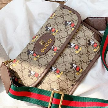 GUCCI & Disney New Fashion More Letter Mouse Print Leather Shoulder Bag Cossbody Bag