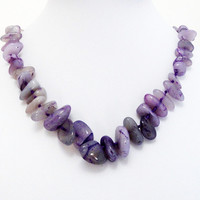 CIJ ChristmasInJuly Sale Purple Jade  Chunky Nugget Knotted Necklace, Birthday, Anniversary Gift Under 30