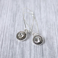 Long Shiny Silver Dangle Earrings on Kidney Earwires with Bright Clear Crystals - Crystal Dangle Earrings - Everyday Jewelry