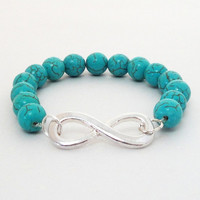 Infinity Bracelet, Blue Turquoise Silver Infinity Charm Stretchy Elastic, Bridesmaid Gift. Best Friends. Sister Bracelet