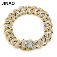 "JINAO New Fashion Gold Color Plated Micro Pave Cubic Zircon Bracelet All Iced Out 8"" Length Cuban Chain Hip Hop Jewelry For Male"