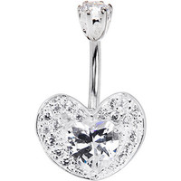 925 Sterling Silver Clear Heart Encased CZ Belly Ring | Body Candy Body Jewelry