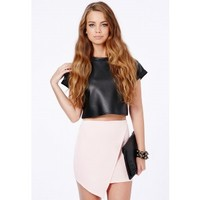 Missguided - Milagros Wrap Over Mini Skirt In Baby Pink