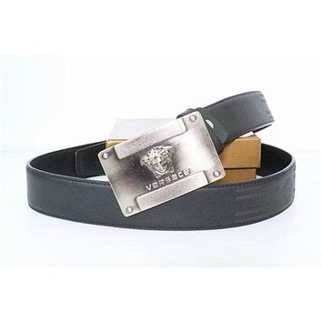 Black Leather Belt With Silver Buckle By Versace Belt