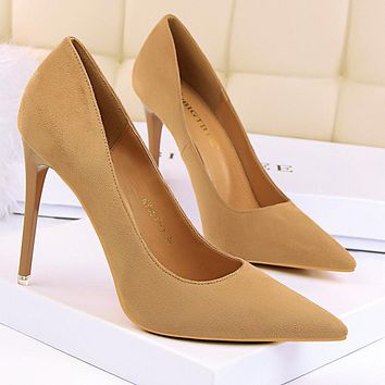Fashionable high-heeled high-heeled shallow mouth pointed suede slim sexy nightclub women's singles shoes brown