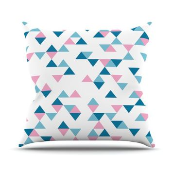 Kess InHouse Emeline Tate Robertson 'Triangles Pink Projectm' Outdoor Throw Pillow, 18 by 18-Inch