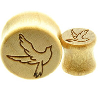 """Wooden Ear Plug with Bird Dove Design Sold As a Pair -00 Gauge -1/2"""" - 9/16"""" - 5/8"""" - 11/16"""""""
