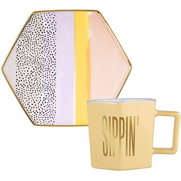 Sippin' Hexagon Mug and Saucer Set in Peach, Black Dot, and Honey
