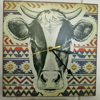 Unique Wall Clock Cow Clock Cow Decor Country Home Decor Country Decor Kitchen Wall Decor Housewares