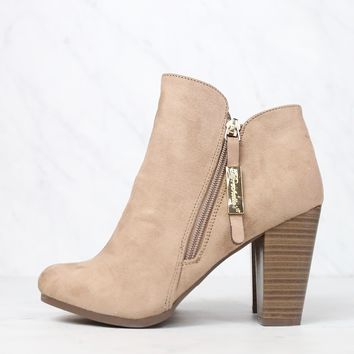 Almond Toe Stacked Heel Vegan Suede Booties in More Colors