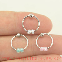 cartilage earring,Tragus Earring,,little beads Cartilage Hoop,tragus Earring,cute Helix Cartilage jewelry,oceantime
