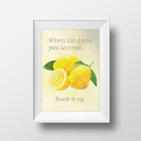 When life gives you lemons... Original Illustration Poster Vintage Style Ad Giclee Print on Cotton Canvas and Paper Canvas Home Wall Decor