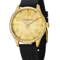 Women's Gold-Tone & Black Rubber Watch by Stuhrling Original at Gilt