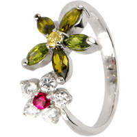 Sterling Silver 925 Cubic Zirconia FLOWER PETALS Toe Ring   Body Candy Body Jewelry