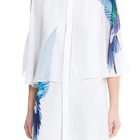 White Bird Print Cape Chiffon Mini Dress