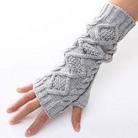 Fashion Wool Fingerless Long Short Thicken Gloves Mittens