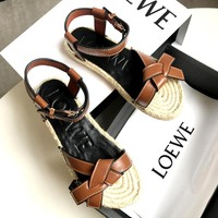 LOEWE Women's Open Toe Flat Platform Beach Sandals