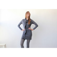 Gray Urban Sexy Tunic , Women Winter Dress , Knitted Gray Dress, Long Sleeves Mini Dress - Blushfashion