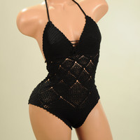 Black Crochet Bikini, swimming suit, top, beachwear, acrylic stretch yarn on order