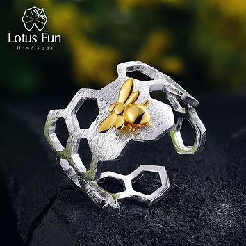 925 Sterling Silver 18K Gold Bee Rings Natural Designer Fine Jewelry Home Guard Honeycomb Open Ring for Women