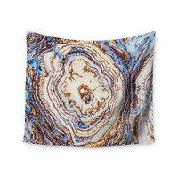 "KESS Original ""Crystal Agate"" Blue Gold Wall Tapestry"