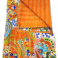 Twin Orange Paisley Indian Kantha Quilt, Cotton Vintage Handmade Kantha Bedding Bedspread Blanket Reversible Quilt, Ralli Gudri Home Decor