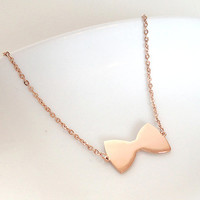 Delicate Rose Gold Ribbon / Bow Tie Necklace