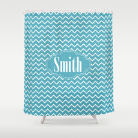 Pool Blue Chevron   Personalized Shower Curtain