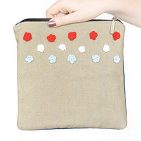 oversized fold over clutch travel bag cosmetic case - recycled linen - cute gift - sky blue red white navy blue neutral