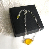 Yellow Chalcedony Bezel Faceted Stone, 925 Sterling Silver Bracelet, Yellow Wedding Jewelry, Thin, Framed