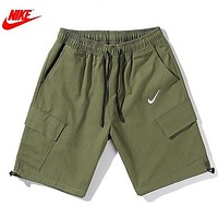 Onewel NIKE New Summer Embroidery Hook Women Men Shorts Army Green
