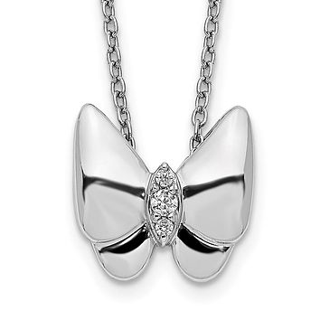 14k White Gold Real Diamond Butterfly Necklace