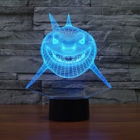 Finding Nemo Shark Bruce 3D LED Illusion Lamp