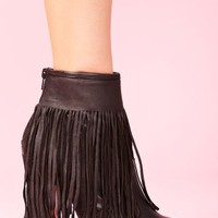 Gravano Fringe Boot - Black Leather