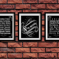 New Orleans, Louisiana, Typography Art Poster - Vintage Map Typography, Chalk Art - New Orleans' Attractions Wall Art Decoration - 028-S3