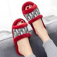 DIOR new style flat slippers womens home non-slip fashion open cotton slippers sandals Shoes Red