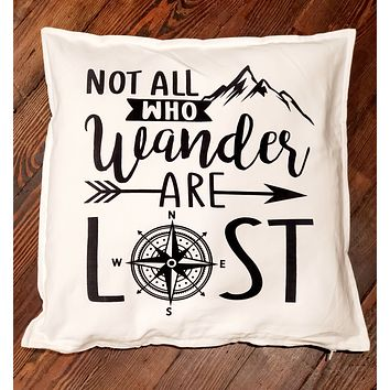 Not All Who Wander Are Lost Compass Adventure 20x20 Throw Pillow Cushion