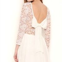 Three Quarter Illusion Lace Sleeves A Line Dress with Bow Back