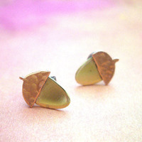 Fall stud earrings Acorn earrings Acorn small stud earrings Minimalist jewelry hypoallergenic ear post Free gift wrap OOAK gift Fall gift