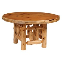 "Cedar Round Log Dining Table 42"" with Standard Finish"