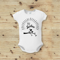 You Are My Sunshine Baby Bodysuit, Bird Baby Top, Boho Baby Outfit
