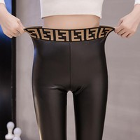 FENDI New Fashionable Women PU Leather High Waist Stretch Pants Trousers