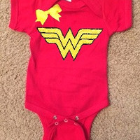 Wonder Woman Onesuit - Girl Onesuit - Childrens Clothing  - Ruffles with Love - Baby Clothing - RWL Kids