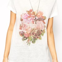 ASOS T-shirt with Pretty Floral Print in Texture