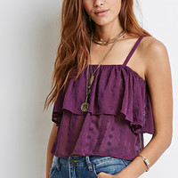 Floral-Embroidered Open-Shoulder Top
