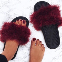 Burgundy Furry Nike Slippers