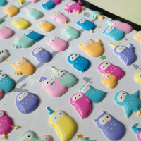 Colorful puffy owl sticker 3D owl stickers baby owl paper good lovely bird mini icon rainbow color animal sticker kawaii sticker scrapbook