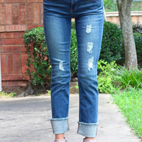 Mid-Rise Straight Leg Frayed + Cuffed Jeans {Dark Wash}