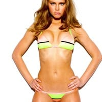Sauvage Swimwear Splice Bikini | Peach and Yellow Bikini