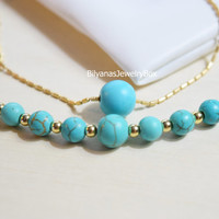 Layering Necklace Turquoise Necklace Two Layer Necklace Gold Turquoise Necklace Bar Necklace Beaded Necklace